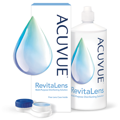 RevitaLens packaging, dispenser and contact lens case